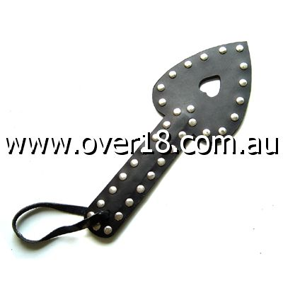 Uberkinky Heart Shaped Leather Paddle with Studs
