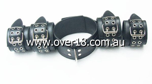 LiberatorBound Heavy Duty Collar with Ankle  Wrist Cuffs