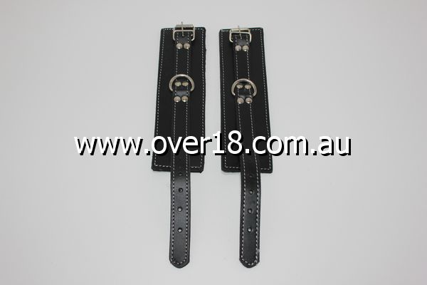 Abbey Leather Buckle Black Wrist Restraints