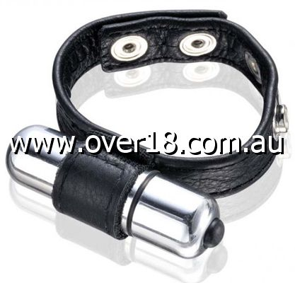 Adjustable Leather Vibrating Cock Ring