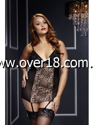 Basque W Garter Stays No Panty Q Leopard