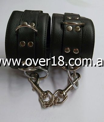 BDSM Black Leather Cuffs