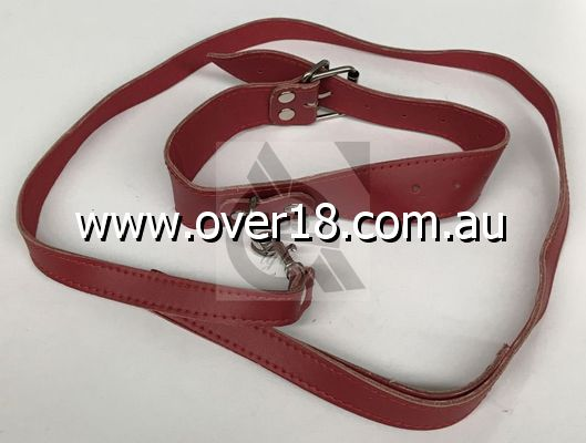 Bedroom Bondage Collar Adjustable Red Leather with Lead