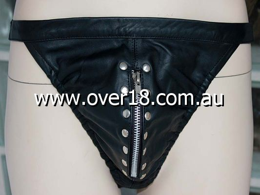 Black Leather Mens Jock Zipper  Studs