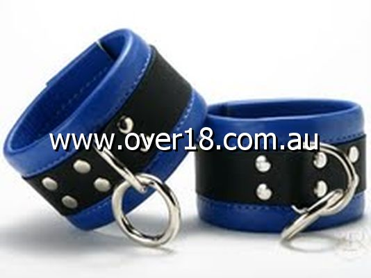 Leather Wrist Restraints in Blue