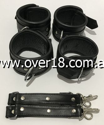 BDSM stuff Wrist and Ankle Hog Tie Black Set