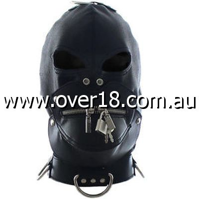 Bondage Zipper Gimp Hood Faux Leather