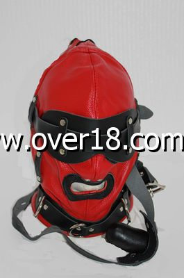 Hell Fire Slave Hood  Blindfold Faux Leather Red  Black