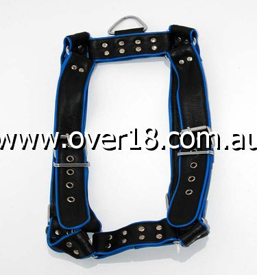 Brace Leather Body Harness Simple Studs Black  Blue