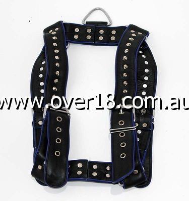 Brace Leather Harness Black  Blue Spiked