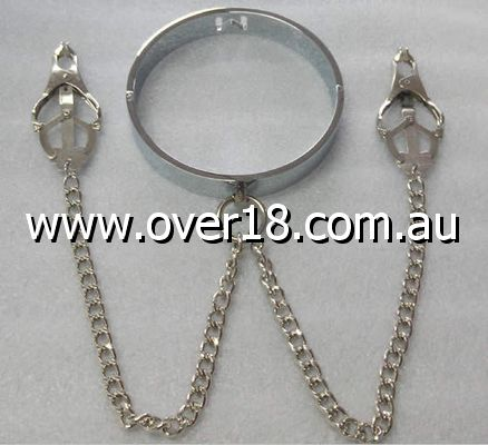 Breast Teasing Metal Collar  Clover Clamps