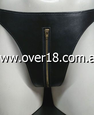 Briefs with Zipper Front In Faux Leather