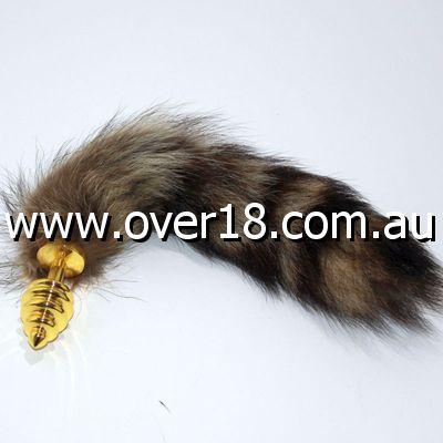 Brown Fox Tail Gold Ribbed Butt Plug