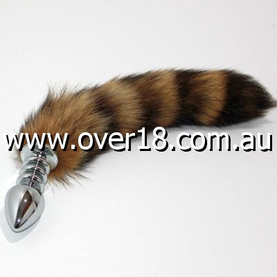 Brown Fox Tail Ribbed Silver Butt Plug