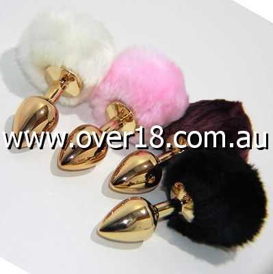 March Hare Tail Metal Gold Butt Plug Small