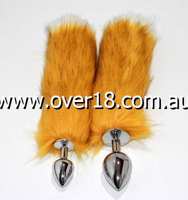 Canid Orange Fox Tail Smooth Silver Butt Plug