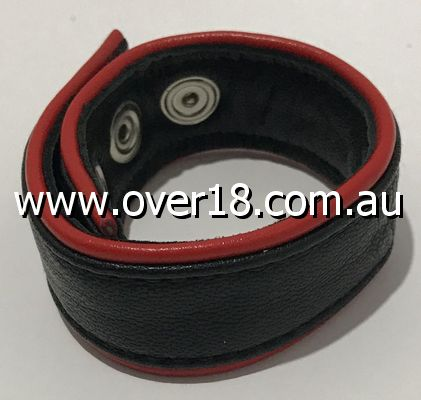 Classic 4-Speed Black  Red Leather Cock Ring