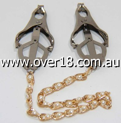 Cripple Nipple Clover Clamps Pearls  Chain