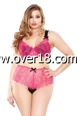 Curve Eyelash Lace Two Tone Bra  Panty
