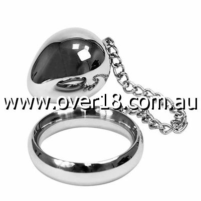 Donut Steel Cock Ring With Anal Egg XXL