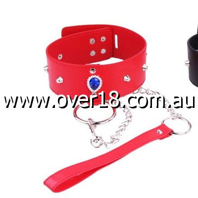 Heart Neck Collar  Lead in Crimson