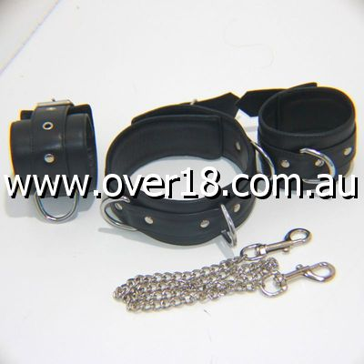 Fierce Wrist and Neck Restraints With Connecting Chain
