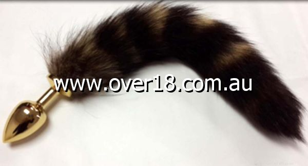 Brown Fox Tail Gold Smooth Butt Plug