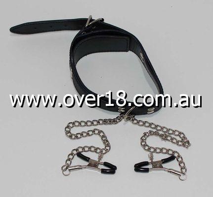KinkyKandi Bondage Collar Black with Nipple Clamps