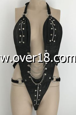 Ladies BDSM One Piece Black Leather Outfit