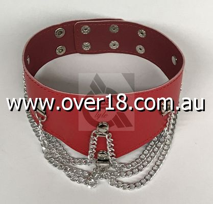 Ladies Fetish Collar With Chains Heavy Red