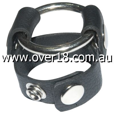 Sinners Leather Cock Ring With O-Ring