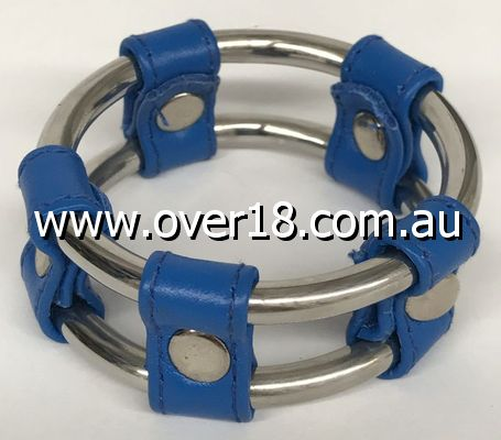 Plain Tube Steel Double Cock Ring Blue 45mm