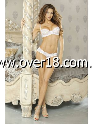 PURE Bra  Panty With Veil Detail White
