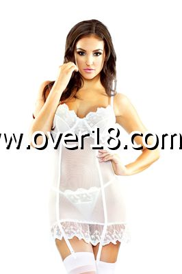 Pure Embroidered Garter Chemise  G-String