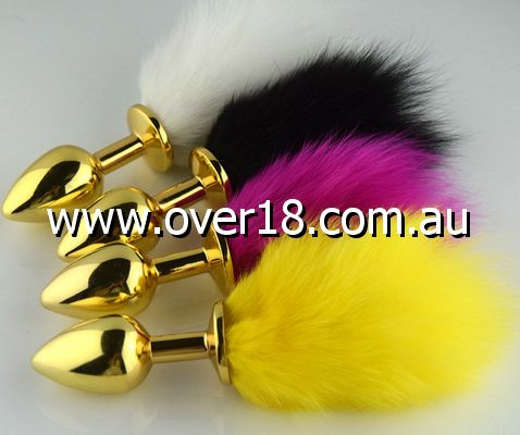Rabbit Tail Butt Plug Gold Medium