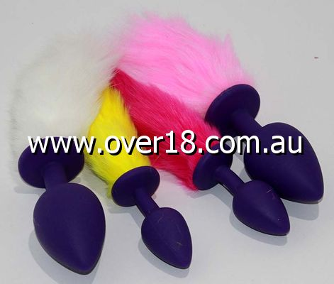 Rabbit Tail Silicone Butt Plug Large
