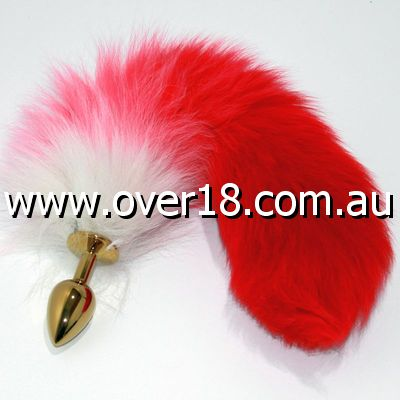 Red Fox Tail Gold Butt Plug