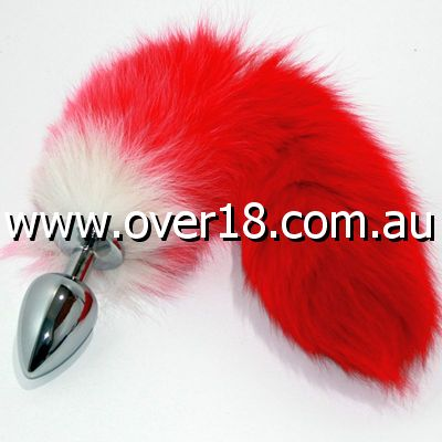 Red Fox Tail Silver Butt Plug