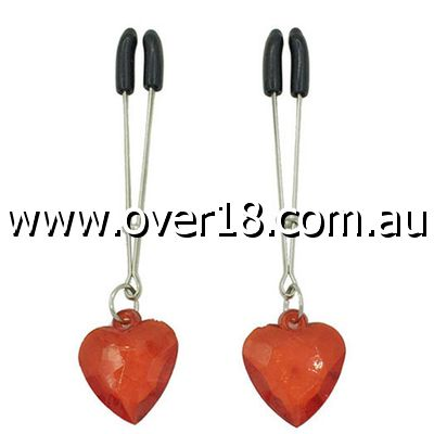 Red Heart Tweezer Nipple Clamps