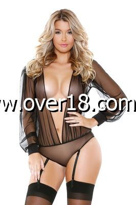 ROMP Long Sleeve Sheer Teddy Romper  Garter