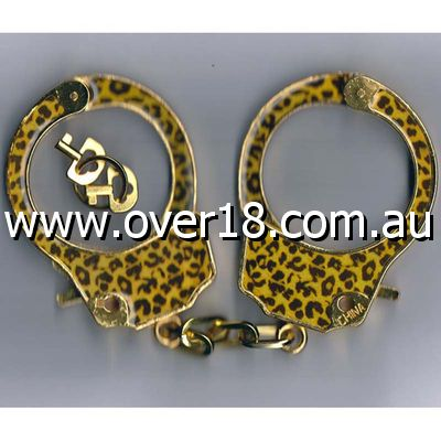 Gold Metal Epoxy Leopard Handcuffs
