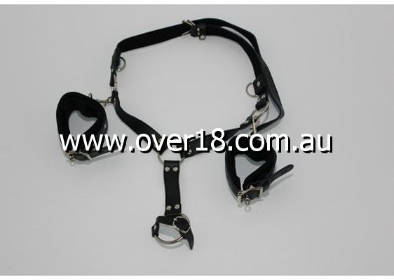 Self Bondage Lower Body Harness with Cock Ring and Wrist Cuffs