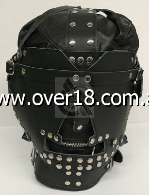 Sensory Deprivation Hood Studded Leather
