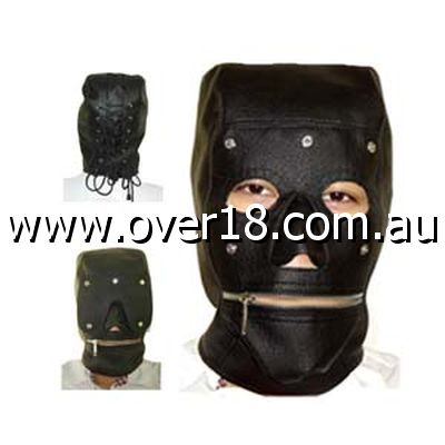 Serious Bondage Hood with Mouth Zipper Faux Leather