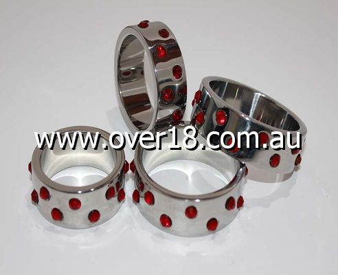 Staggered Ruby Gem Encrusted Pride Steel Cock Ring  Options