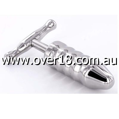 Steel Anal Rammer  T-Bar Handle 6 Rings
