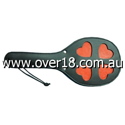 Leather Spanking Paddle with Red Hearts