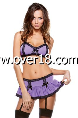 Tease Halter Braletted  Gartered Skirt Set