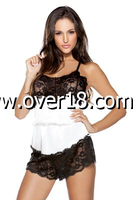 Tease Satin Romper With Lace Bodice