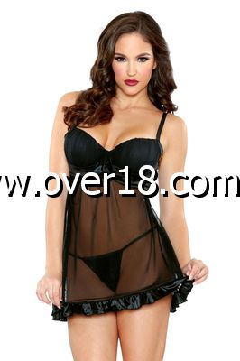 Tease Shirred Cup Babydoll  Panty Set